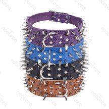 Barna műanyag szegecses nyakörv, 5.0cm x 73cm