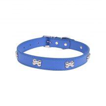 Kék kutyacsont mintás nyakörv,  1.5cm x 36cm