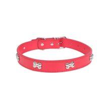 Piros kutyacsont mintás nyakörv,  1.5cm x 36cm