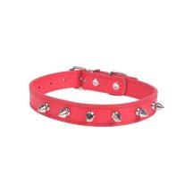 Piros műanyag szegecses nyakörv, 2.0cm x 41cm