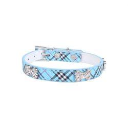 Kék csíkos nyakörv, strasszos kutyacsont mintákkal, Sz1.5cm x 37cm