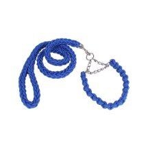 Fonott kötélpóráz és nyakörv és póráz szett, kék színben S méret 2.5x35-52 cm