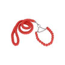 Fonott kötélpóráz és nyakörv és póráz szett, piros színben S méret 2.5x35-52 cm