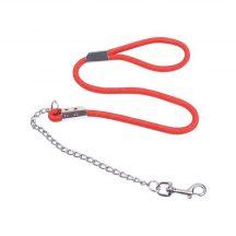 Piros terminátor póráz fém lánc, kötél vég  D1.2cm x 120cm