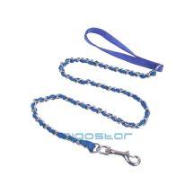 Kék Terminátor póráz- textil szövet a fém láncon 3.0cm x 120cm