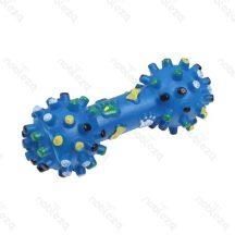 Rücskös kék színes mintás sípoló kutyajáték, 16cm x 7cm
