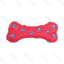 Tappancs mintás piros  színes sípoló kutyajáték, 15cm x 7cm