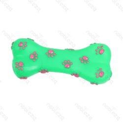 Tappancs mintás zöld színes sípoló kutyajáték, 15cm x 7cm