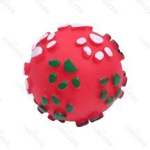 Kerek tappancs mintás piros színes sípoló kutyajáték, 8.5cm átmérőjű