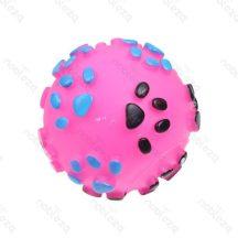 Kerek tappancs mintás rózsaszín színes sípoló kutyajáték, 8.5cm átmérőjű