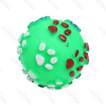 Kerek tappancs mintás zöld színes sípoló kutyajáték, 8.5cm átmérőjű