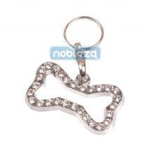 Strasszos kutyacsont formájú kutyaékszer nyakörvre, 3,0 cm