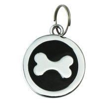 Fekete medál, kutyacsont mintákkal a közepén,D 2.2cm