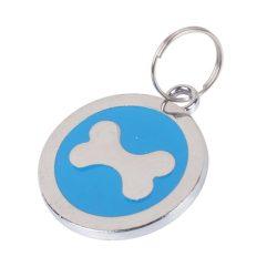 Kék medál, kutyacsont mintákkal a közepén, D 2.2cm