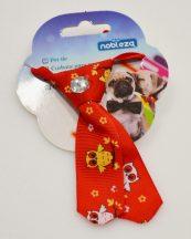 Kutya nyakkendő, 9cm, piros alapon bagoly mintás