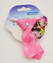 Kutya nyakkendő, 9cm, rózsaszín alapon hópehely mintás