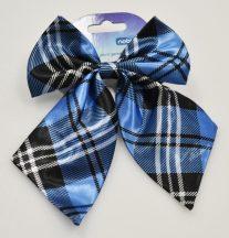 Kék alapon fekete kockás-csíkos kutya nyakkendő