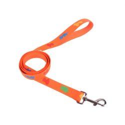 Narancssárga színű textilpóráz, kutyamintákkal díszítve1.5cmx120cm