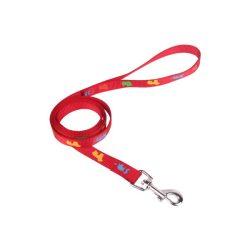 Piros színű textilpóráz kutyamintákkal díszítve 1.5cmx120cm