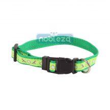 Zöld mintás textil nyakörv 2.5cmx40-60cm