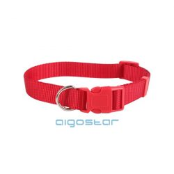 Piros egyszínű textil nyakörv, többféle méretben, Sz1.5*H25-40cm