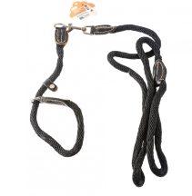 Fekete fonott nylon, nyakörv és póráz egyben, D1.0x120cm