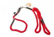 Piros kötélpóráz szett, nyakörv és póráz egyben bézs színben, 1,2cm x 120cm