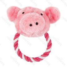 Plüss és kötél kutyajáték, malacka formájú, rózsaszín