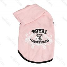 Kapucnis kutyapulcsi, divatos nyomott mintás, pink 30 cm háthossz