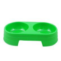 Dupla itató és vagy etetőtál zöld színben, 31 x 12 x 6.5cm