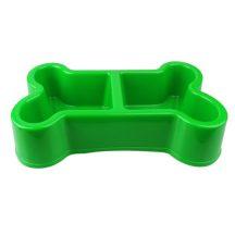 Dupla itató és vagy etetőtál zöld színben, 31 x 19 x 7cm