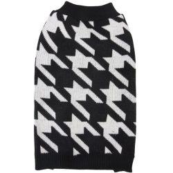 Sweater, kutyafog mintás, fekete, 30cm háthossz