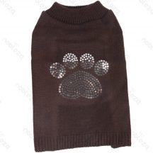Basic Sweater, flitteres tappancsmintákkal, barna színű, 30cm háthossz