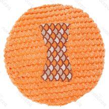 Plüssből készült kutyajáték, kerek formájú, sípoló, narancssárga