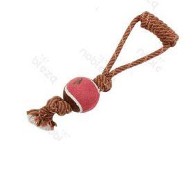 Kötéljáték, 1db teniszlabdával, piros, 34cm