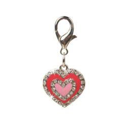 Szívecske formájú, strasszokkal kirakott kulcstartó, 2.5cm x 2.5cm