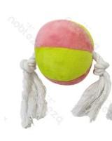 Plüss labda, kötéllel a végein, rózsaszín-sárga, 28cm