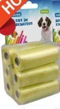 6db-os kutyapiszok felszedő zacskó, sárga színű, 0,008mm