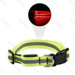 LED-es Fényvisszaverős, világítós nyakörv kutyáknak, Sz 2.0cm x 35-50cm