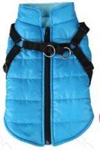Kék kutyaruha pórázakasztóval párosítva 25cm háthossz