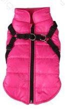 Rózsaszín kutyaruha pórázakasztóval párosítva 30cm háthossz