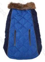 Luxus steppelt szőrme galléros kabát Kék 30cm háthossz