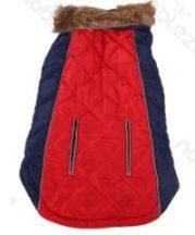 Luxus steppelt szőrme galléros kabát Piros 30cm háthossz