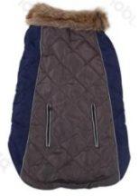 Luxus steppelt szőrme galléros kabát Szürke 30cm háthossz