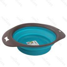 Szilikon összecsukható etető vagy itató tál, kék színben