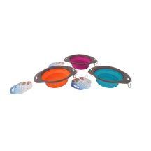 Szilikon összecsukható etető vagy itató tál, narancssárga színben