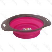 Szilikon összecsukható etető vagy itató tál, pink színben