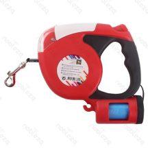 Piros flexipóráz,  praktikus kutyapiszok tartóval, 3m-es, piros
