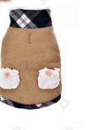 Kötött téli kutyakabát kockás felhatóval, bélelt, barna, 35 cm hosszú