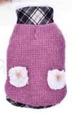 Kötött téli kutyakabát kockás felhatóval, bélelt, rózsaszín, 40 cm hosszú